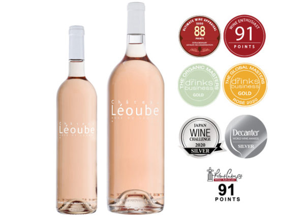 Bottle of organic rosé wine from Provence Château Léoube
